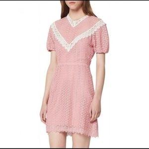 NWT Sandro pink lace mini cocktail dress 36 XS